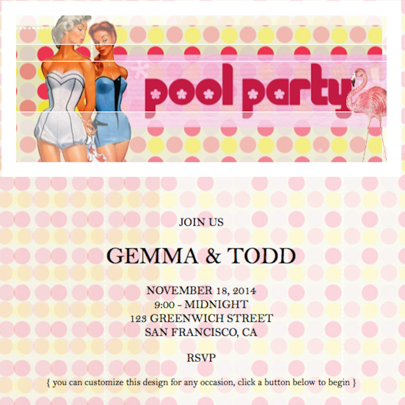 Sendo Vintage Pool Party Online Invitation