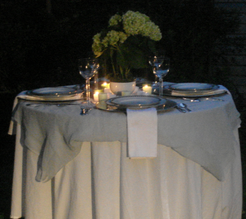 this first table is more formal we used plain white cotton tablecloths with